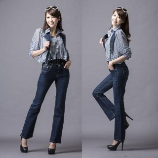 【RH】中腰立體個性修身顯瘦吊帶剪裁牛仔褲(牛仔藍)