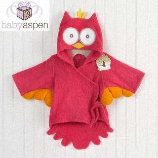 【BabyAspen】BAS 小小貓頭鷹嬰兒浴袍/長袍-桃紅(#BA14006HP)