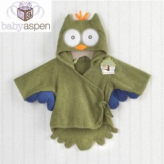 【BabyAspen】BAS 小小貓頭鷹嬰兒浴袍/長袍-綠色(#BA14006GN)