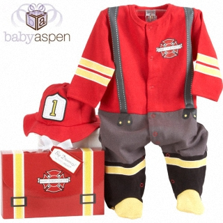 【BabyAspen】BAS 小小嬰兒英勇消防員套裝彌月禮物組 0-6M(#BA16010FF)