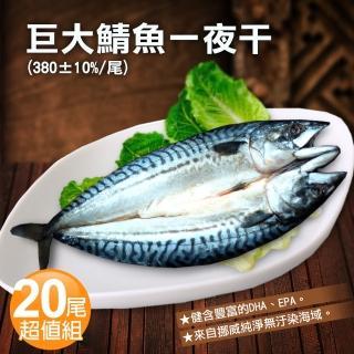 【優鮮配】挪威當季鯖魚一夜干20尾超值組(約380g/整尾)