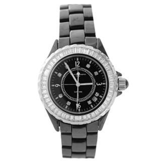 【Valentino范倫鐵諾】名媛方晶鋯石點綴外框 藍寶石鏡片 全精密陶瓷手錶(玖飾時尚NE531)