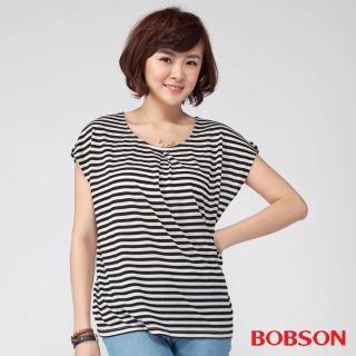 【BOBSON】女款雪紡紗條紋短袖上衣(黑88)