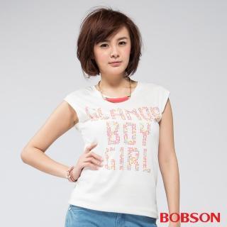【BOBSON】女款燙貼彩色鋁片短袖上衣(白81)