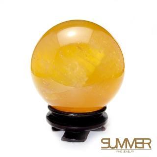 【SUMMER寶石】有球必應-天然頂級清透黃冰晶球/黃冰洲球80mm以上(隨機出貨)