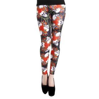 【摩達客】英國進口Pamela Mann 史嘉莉骷髏花彈性內搭褲打底褲鉛筆褲