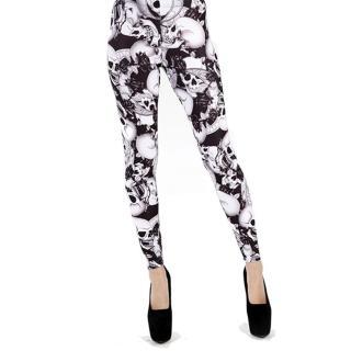 【摩達客】英國進口Pamela Mann 黑白骷髏圖紋彈性內搭褲打底褲鉛筆褲