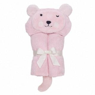 【美國 Elegant Baby】動物連帽浴巾-粉紅熊熊 #79572