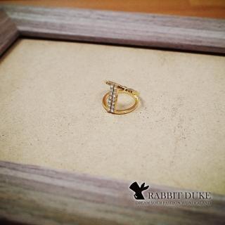 【RD 兔子公爵】現貨 經典歐美風格 個性雙環平行直線鑲鑽設計戒指(單色)