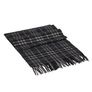 【BURBERRY】經典細格紋喀什米爾羊毛圍巾(深灰色3641956-DARK-CHECK)