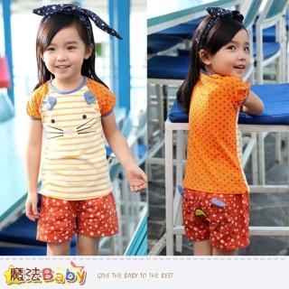 【魔法Baby】女童套裝-超Q貓臉女童短T短褲套裝(k34516)