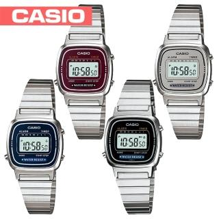 【CASIO 卡西歐】日系-復古風銀色系電子女錶_鏡面3x2.4(LA670WA)