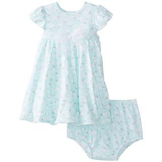 【Little Me】無袖洋裝包屁褲套裝2件組-嫩綠小花 款 #LCU02267N