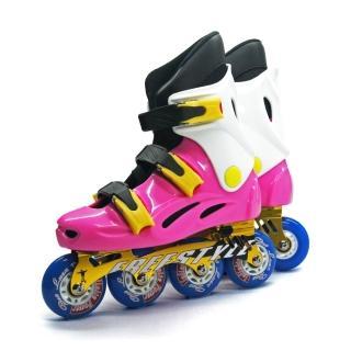 【D.L.D 多輪多】鋁合金底座 專業競速直排輪 溜冰鞋(粉紅白 -- FS-1)