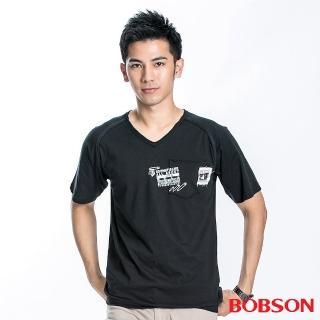 【BOBSON】男款V領印圖短袖上衣(黑88)