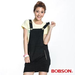 【BOBSON】女款針織拉鍊吊帶裙(黑88)