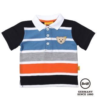 【STEIFF德國精品童裝】短袖 Polo 橫條 上衣 白領黑袖(Polo衫)