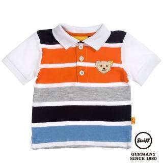 【STEIFF德國精品童裝】短袖 Polo 橫條 上衣 白(Polo衫)