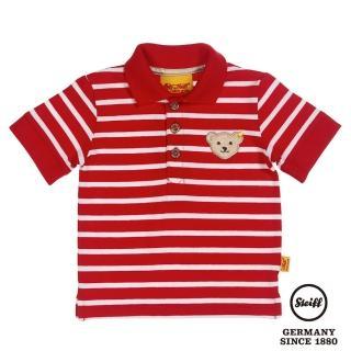 【STEIFF德國精品童裝】短袖 Polo 橫條 上衣 紅(Polo衫)