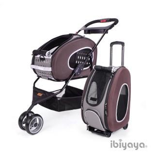 【IBIYAYA依比呀呀】五彩繽紛寵物推車提包組-咖啡(FS1009)