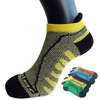 【三合豐 Acolor】竹炭透氣型氣墊止滑運動襪/運動船襪-5雙(MIT除臭襪 5色)