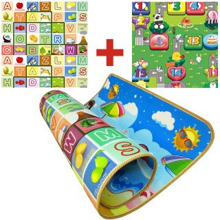【BabyTiger虎兒寶】加大加厚2CM!雙面環保遊戲爬行地墊-大富翁+水果字母