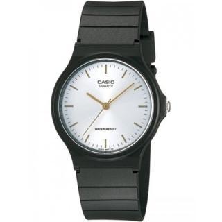 【CASIO 卡西歐】極簡時尚數字指針石英錶(白x金/35mm)