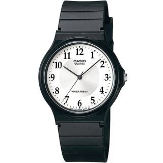 【CASIO 卡西歐】極簡時尚數字指針石英錶(白面/35mm)