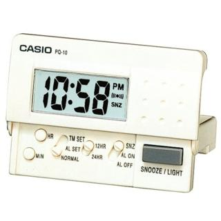 【CASIO 卡西歐】輕便數位電子鬧鐘(白-PQ-10-7R)