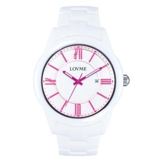 【LOVME】羅馬戀人陶瓷時尚腕錶-白x桃刻度(VC0291M-22-2F1)