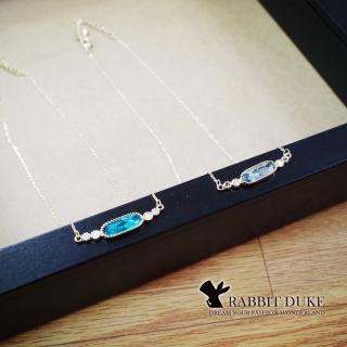 【RD 兔子公爵】現貨 經典歐美風格 個性長橢圓型設計彩色寶石項鍊(二色)