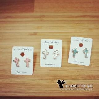 【RD 兔子公爵】現貨 經典歐美風格 個性糖果色彩金屬邊十字架耳環(三色)