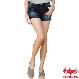 【BOBSON】女款角鋁片牛仔短褲(藍53)