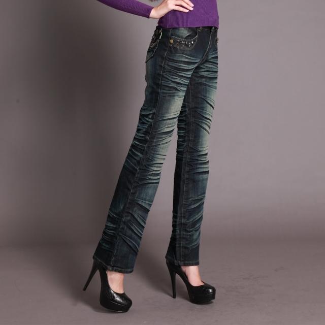 【RH】個性時尚手工抓皺鑽珠牛仔直筒褲(深藍)