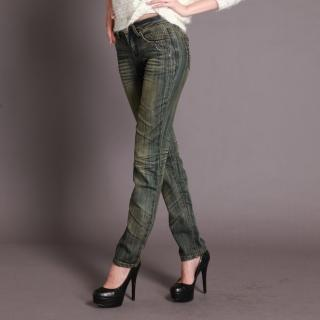 【RH】獨家特殊刷色手工抓皺時尚晶鑽丹寧長褲(顯瘦纖細深藍喇叭褲)