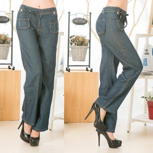 【RH】日系簡約大方時尚寬版直筒丹寧褲(深藍全尺碼S-3L)
