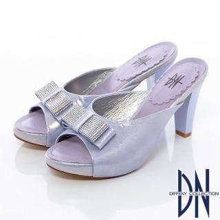 【DN】典雅氣質 水鑽蝴蝶結牛皮珠光高跟拖鞋(紫)