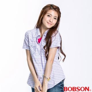 【BOBSON】女款格紋短袖襯衫(粉10)