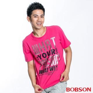 【BOBSON】男款字母印圖短袖上衣(桃紅15)