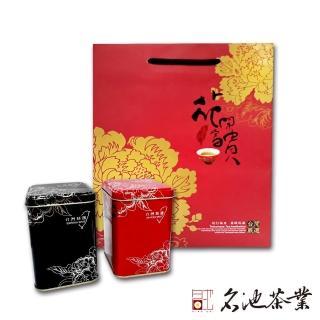 【名池茶業】陳年老茶+阿里山清香型2件組(花開富貴手提袋)