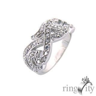 【RingCity】立體雕花鏤空造型戒(白鑽色系列)