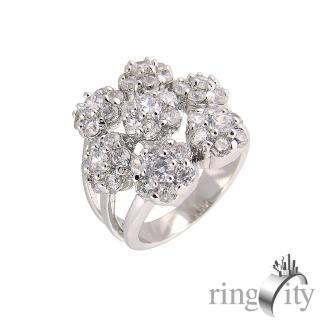 【RingCity】繽紛花朵造型戒(白鑽色系列)