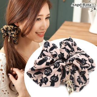 【Angel Rena】凱特貓咪墜飾大腸圈髮束(淺粉˙黑)