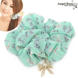 【Angel Rena】微風花語蝴蝶結墜飾大腸圈髮束(湖水綠)