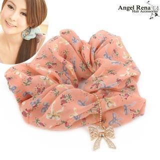 【Angel Rena】微風花語蝴蝶結墜飾大腸圈髮束(溫柔粉)
