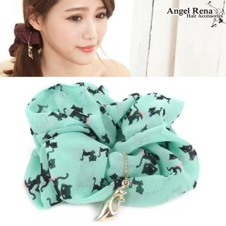 【Angel Rena】貓咪樂園墜飾大腸圈髮束(湖水綠)