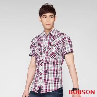 【BOBSON】男款格紋短袖襯衫(桃紅15)