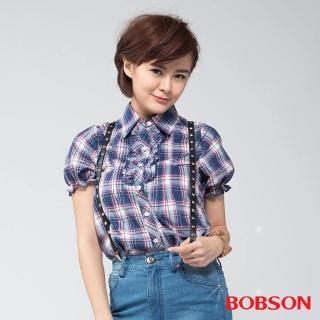 【BOBSON】女款前襟荷葉短袖襯衫(藍紫53)