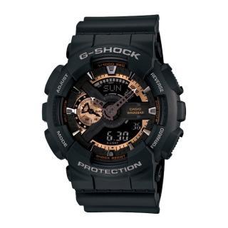 【CASIO 卡西歐 G-SHOCK 系列】大錶面-多層次錶盤機械風(GA-110RG 黑)