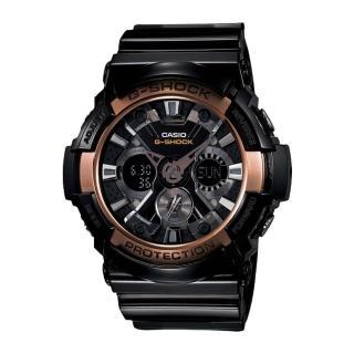 【CASIO 卡西歐 G-SHOCK 系列】復古玫瑰金限定款金屬雙顯錶(GA-200RG 復古玫瑰金)